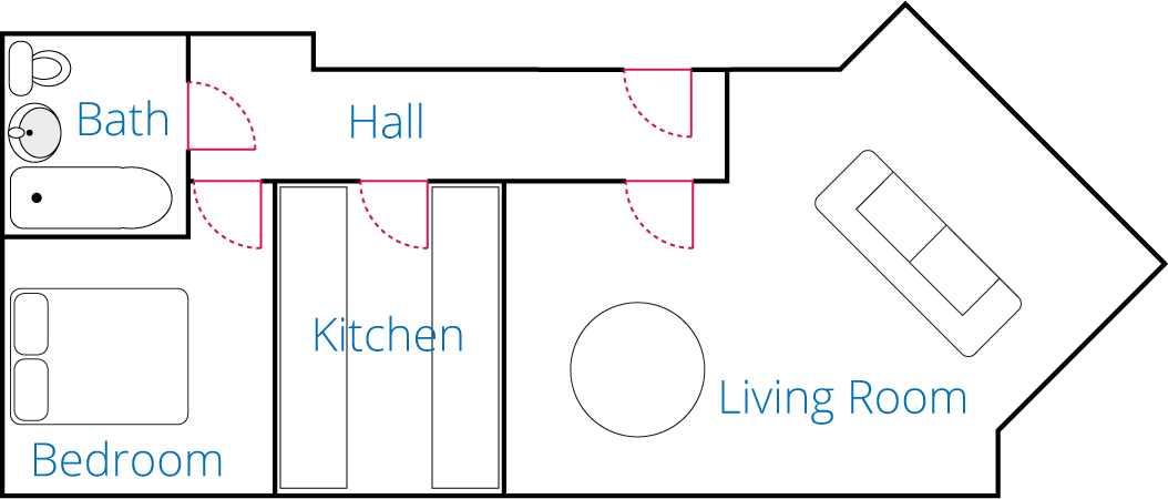 Floor Plan for the one bedroom apartment